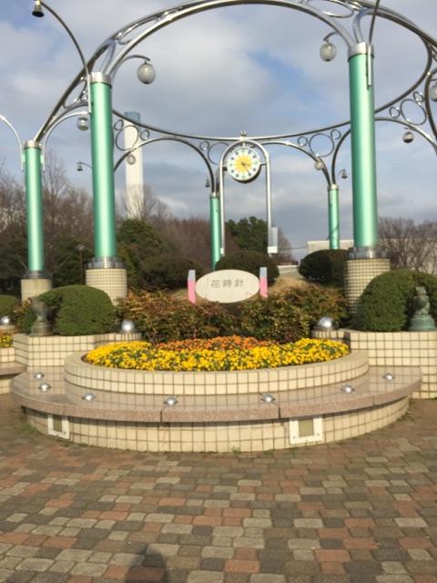 相模原麻溝公園 センター広場・花時計・斜面花壇 花時計:周りに咲く花がとっても奇麗です!センター広場の真ん中にあります。