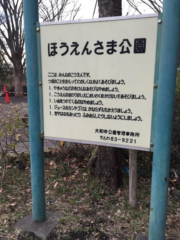 ほうえんさま公園 公園情報 1)公園入口:小さな公園がいくつかある地域の大和市。隣には、中学校があり、近くには小学校、幼稚園があるためいつも賑わって居る公園の一つです。