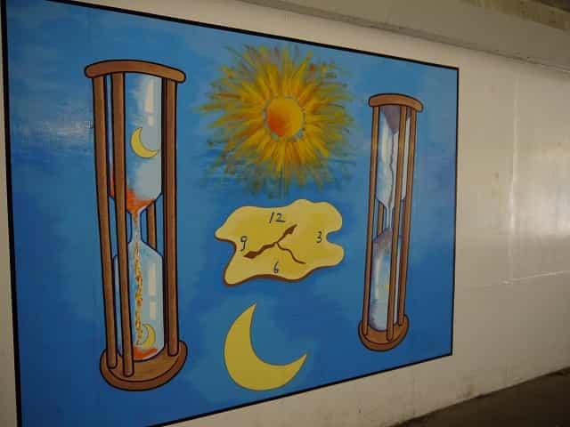 しながわ区民公園 トンネル内の壁画