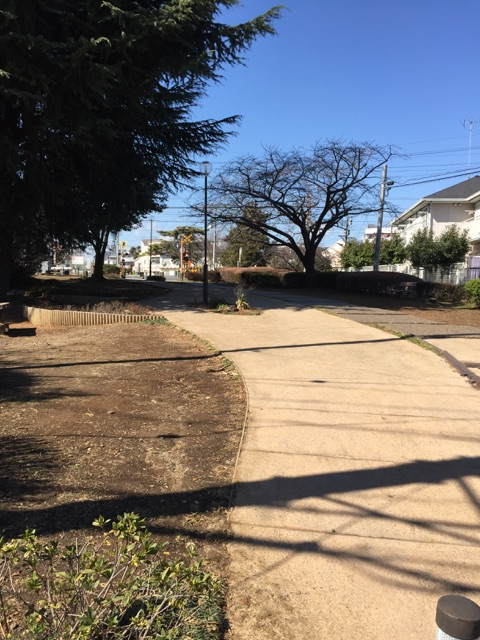 林間第2公園 緑道沿いにある公園なので、段差が少なく、ベビーカーでお散歩ついでによれる公園です。