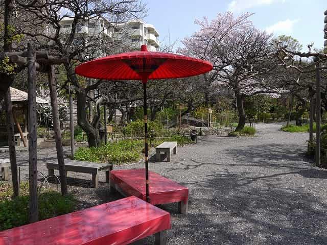 向島百花園 入口付近に風情のある休憩所があります。